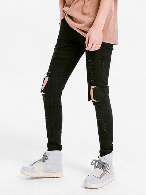 Solid Color Skinny Ripped Jeans - BLACK 40