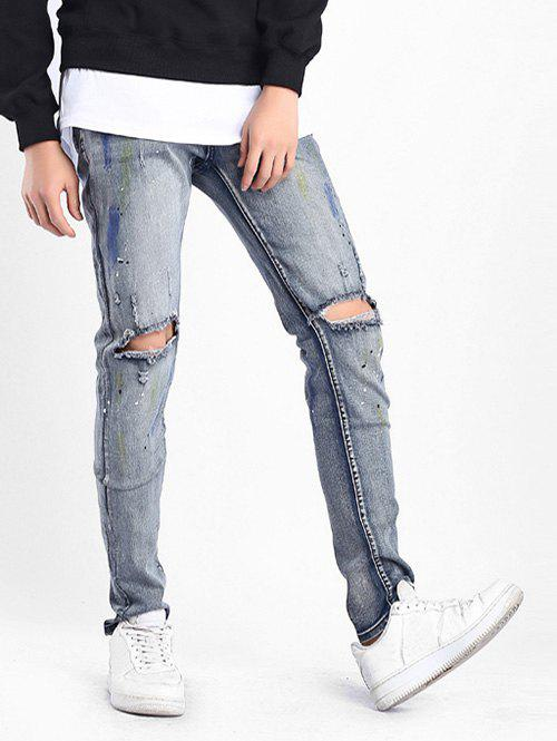 Colored Drawing Stretchy Destroyed Hole Jeans - BLUE GRAY 42