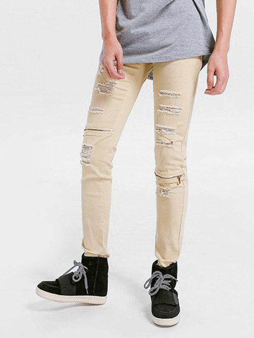 Zipper Embellished Skinny Ripped Jeans - LIGHT KHAKI 40