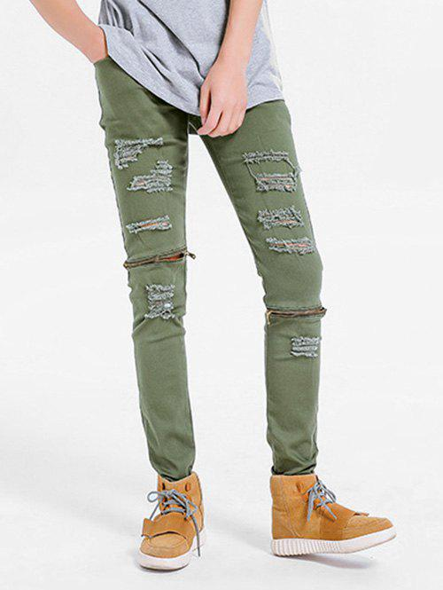Zipper Embellished Skinny Ripped Jeans - FERN GREEN 36