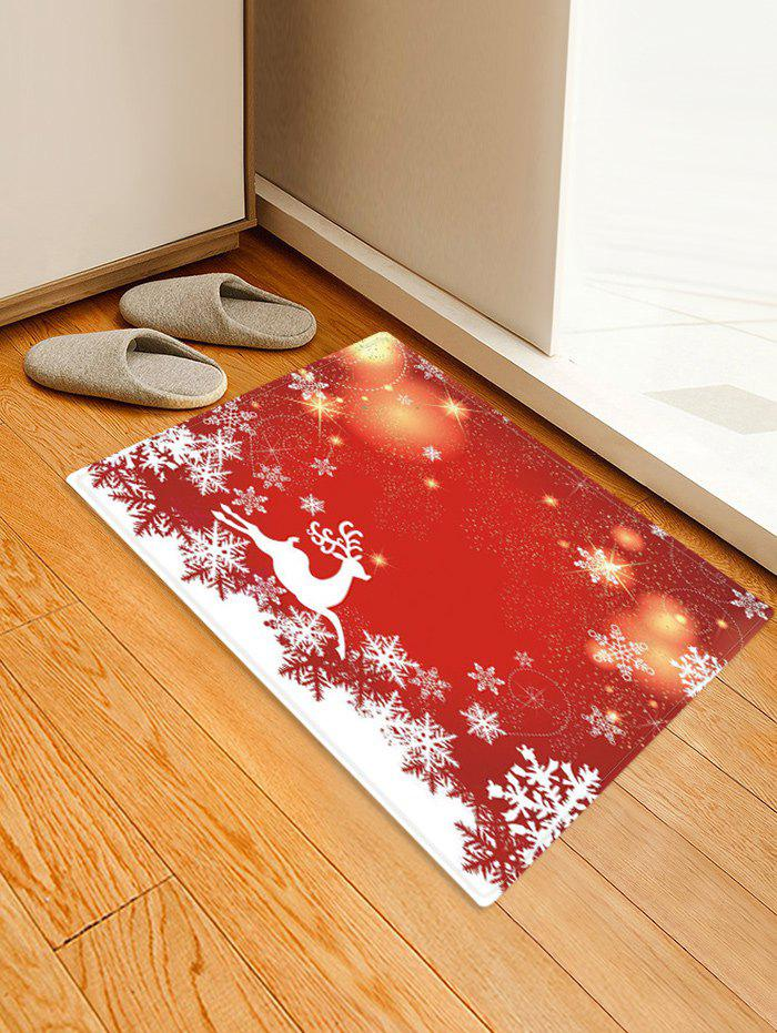 Christmas Elk Snowflake Pattern Water Absorption Area Rug - RED W16 X L24 INCH