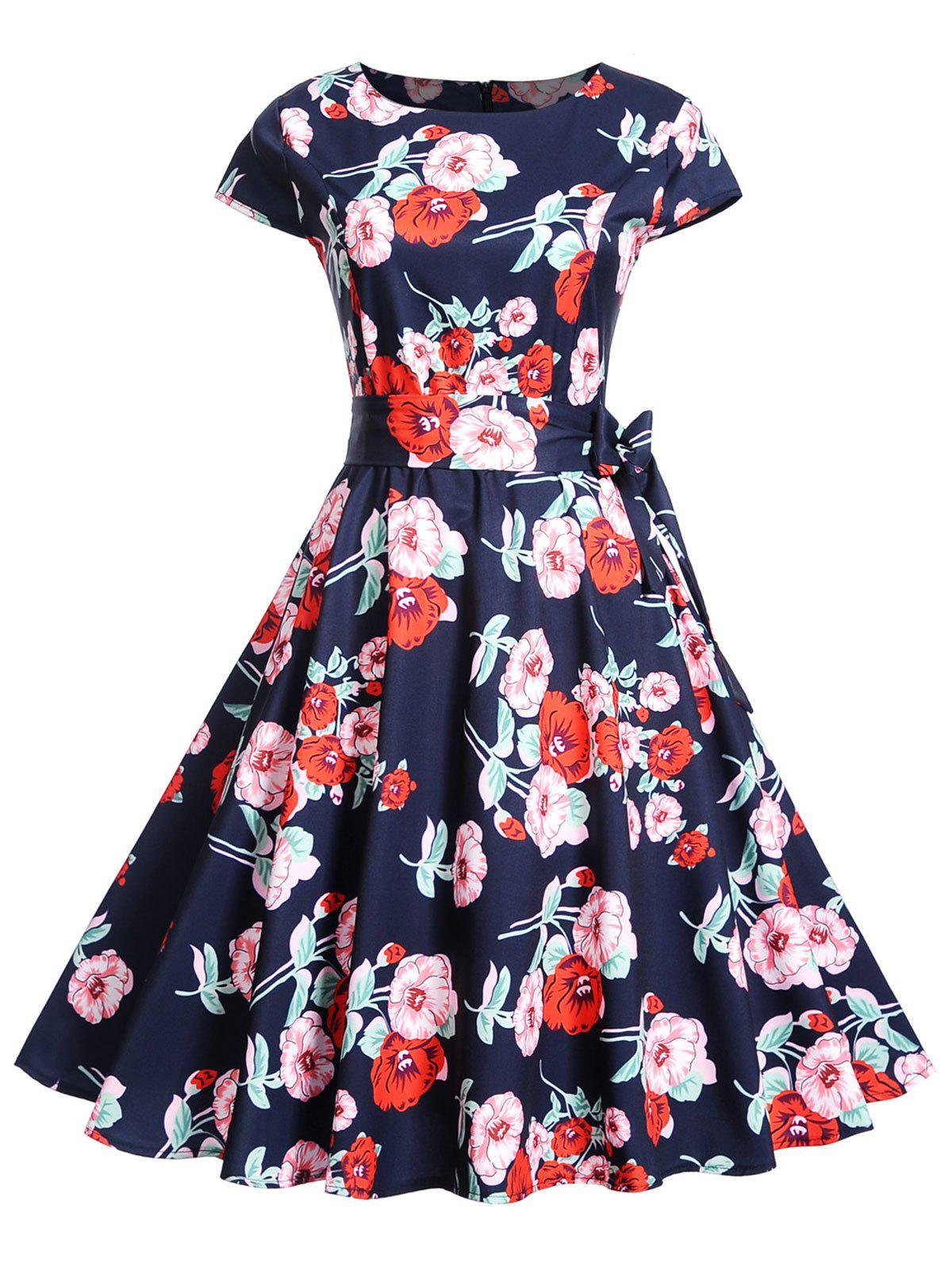 Retro Floral Belted 1950s Dress