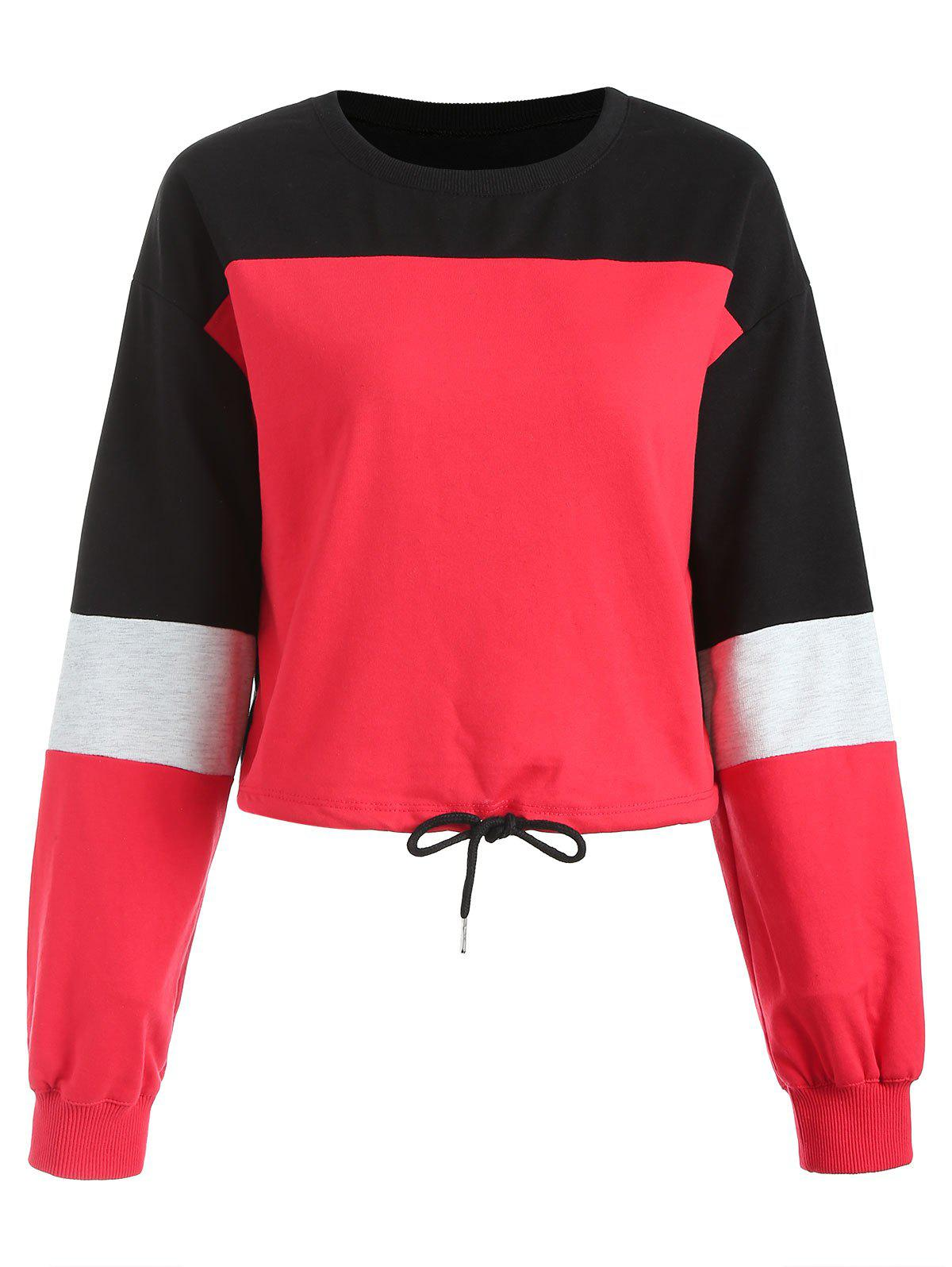 Contrast Color Cropped Sweatshirt - RED XL