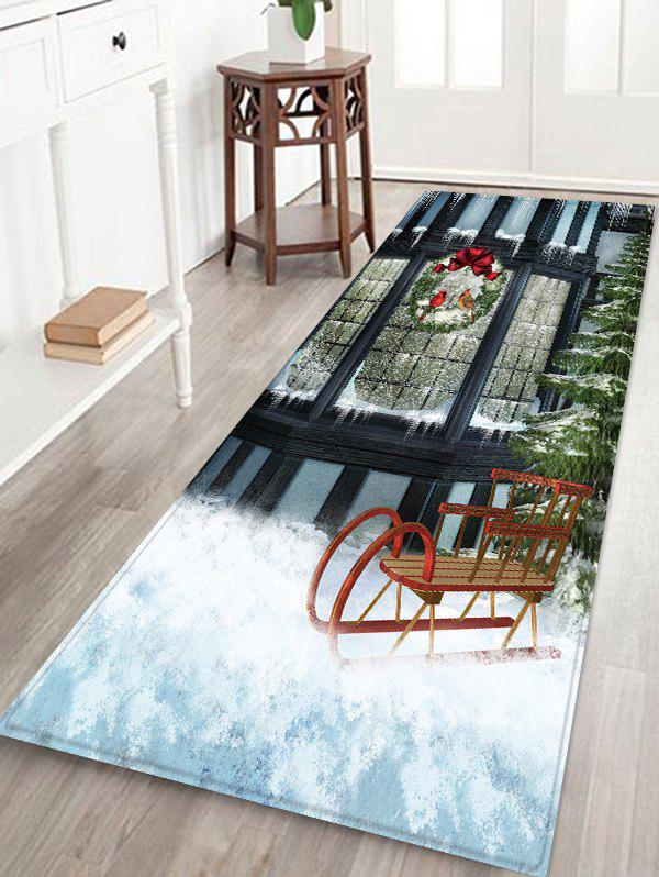 Window outside Snow Scenery Print Christmas Decor Area Rug фото