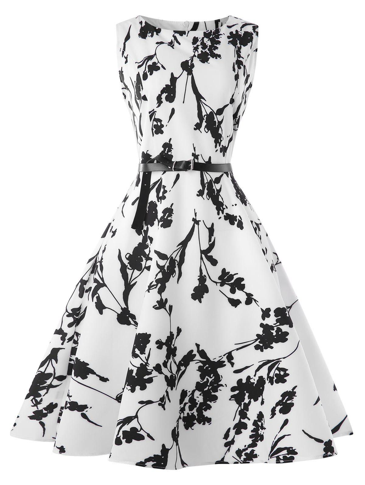 Retro Boat Neck Belted A Line Dress - WHITE L