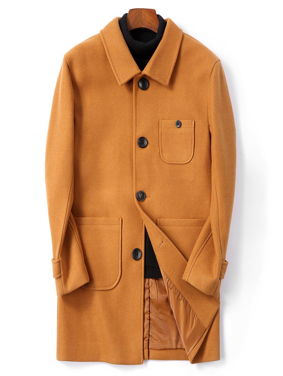 Single Breasted Back Split Woolen Coat - TIGER ORANGE XS