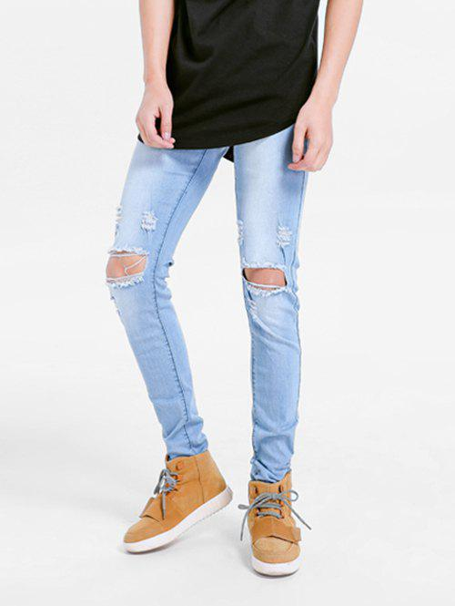 Stretchy Destroyed Hole Skinny Jeans - LIGHT BLUE 38
