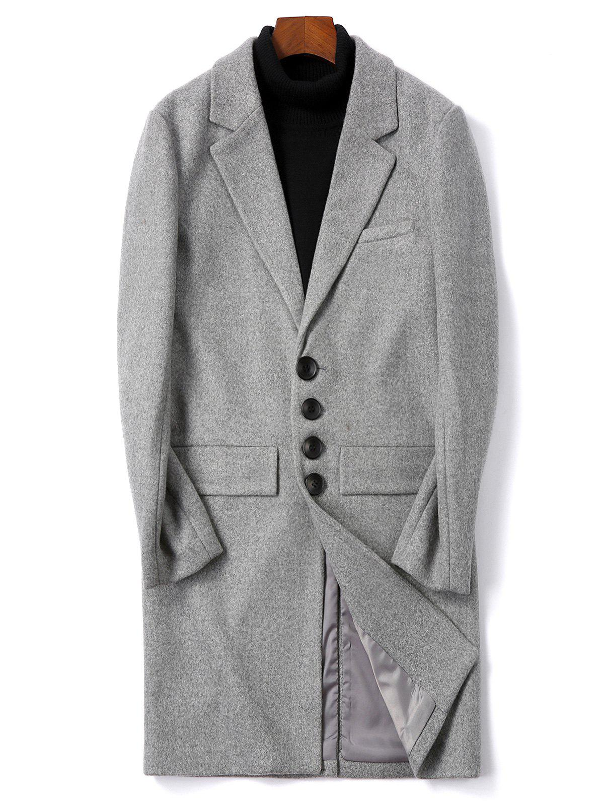 Solid Color Single Breasted Flap Pocket Woolen Coat - GRAY CLOUD XS
