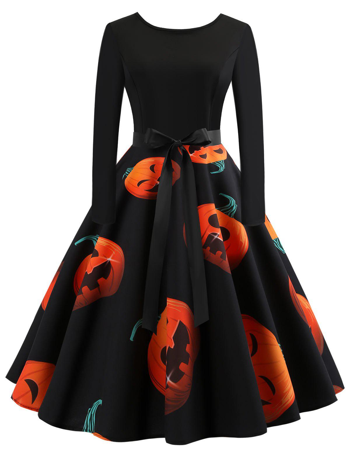 Retro Pumpkin Printed Halloween Dress -