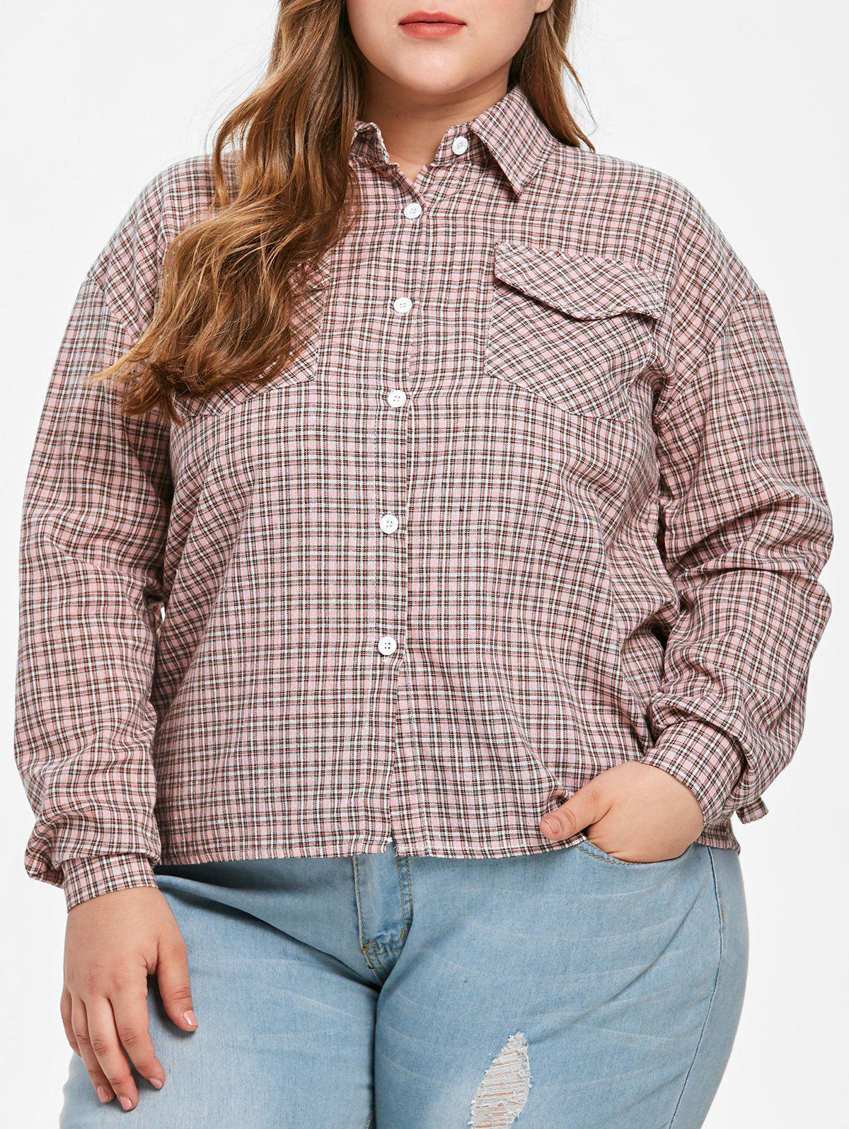 Plus Size Flounce Trim Gingham Shirt - multicolor 4X