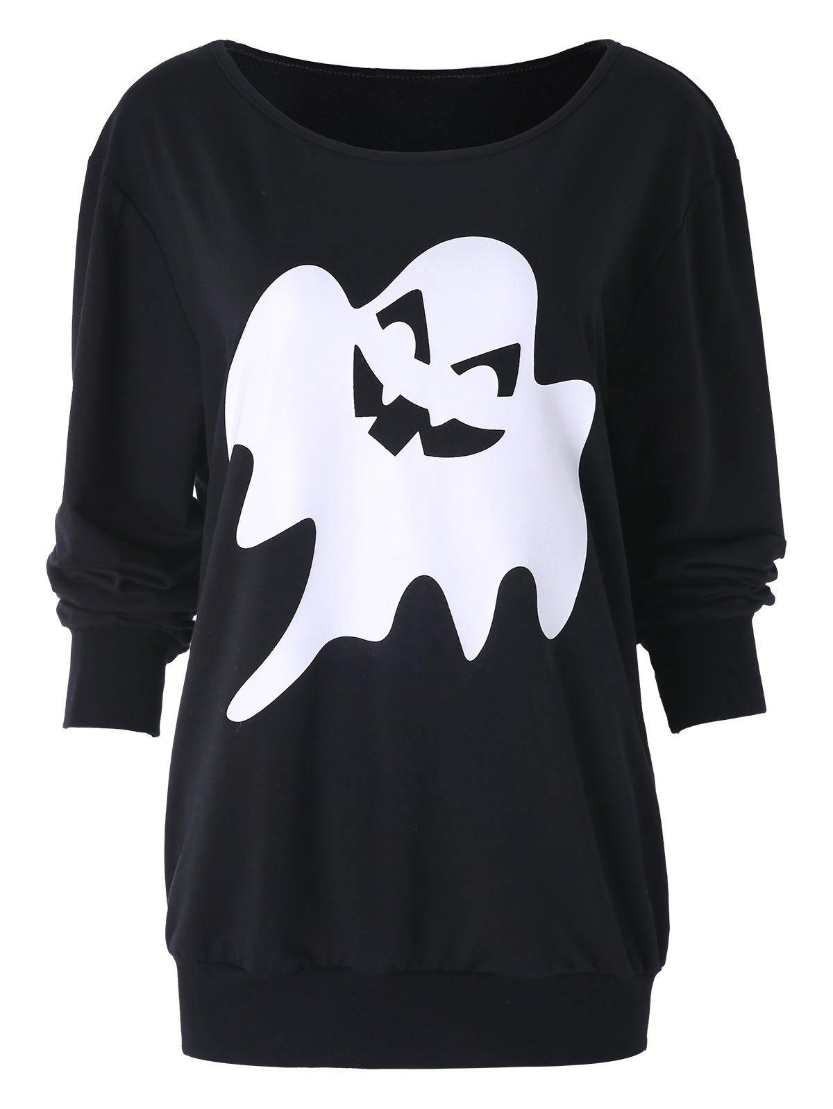 Halloween Ghost Print Skew Neck Sweatshirt