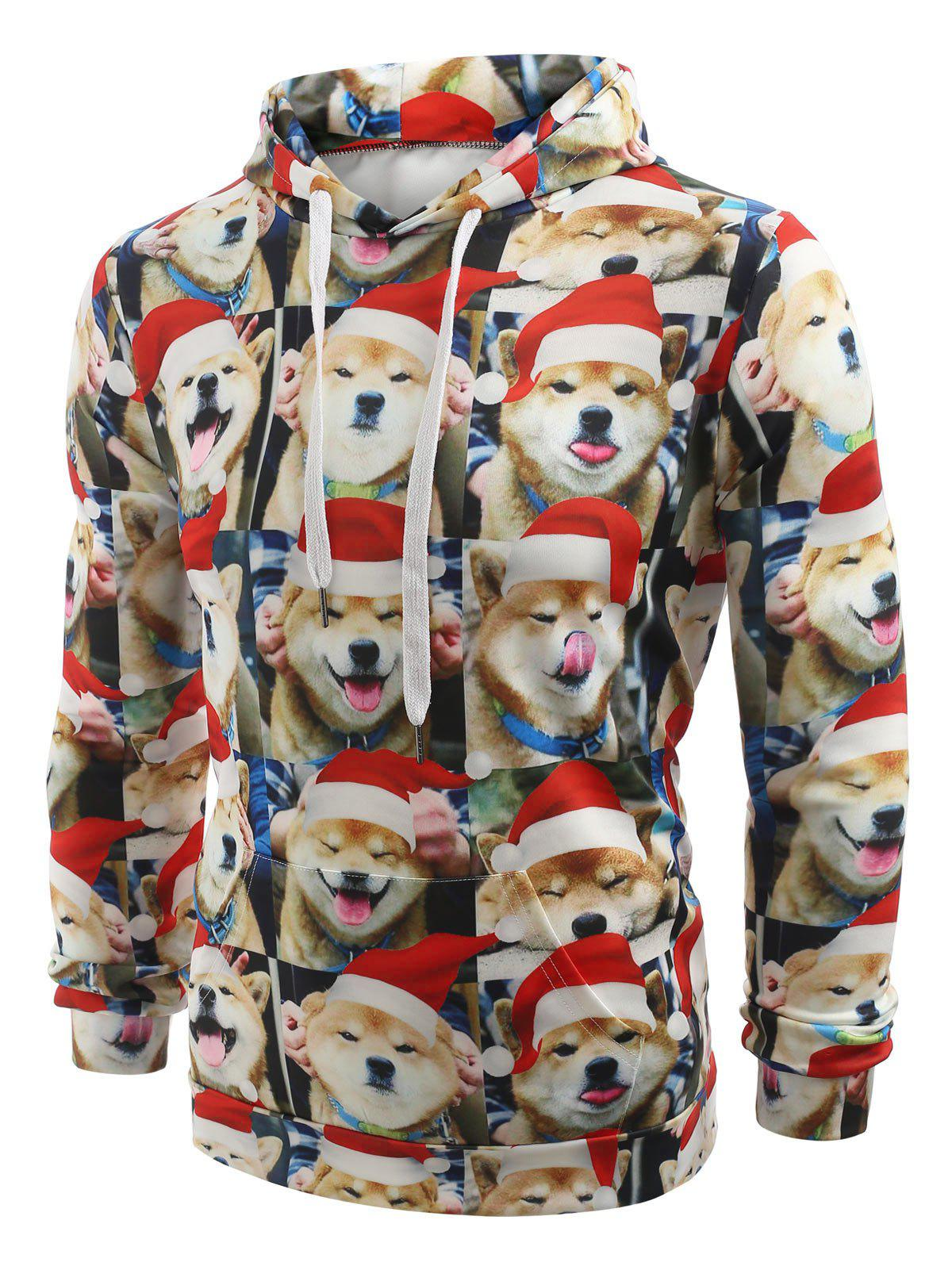 Christmas Puppy Expression Series Print Casual Hoodie - multicolor 2XL