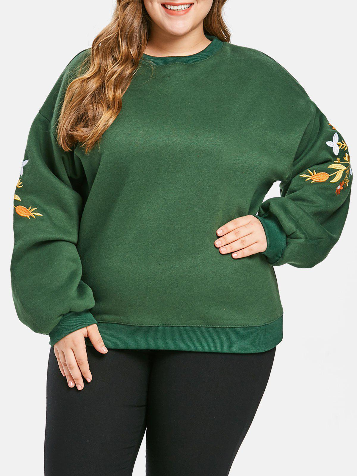 Plus Size Drop Shoulder Embroidery Sweatshirt