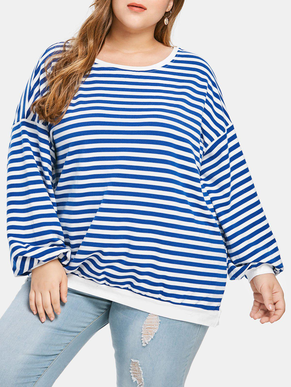 Plus Size Striped Drop Shoulder T-shirt
