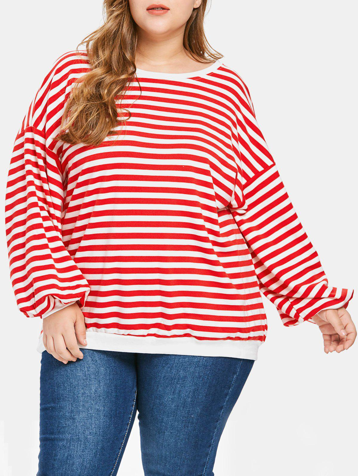 Plus Size Striped Drop Shoulder T-shirt - RED ONE SIZE