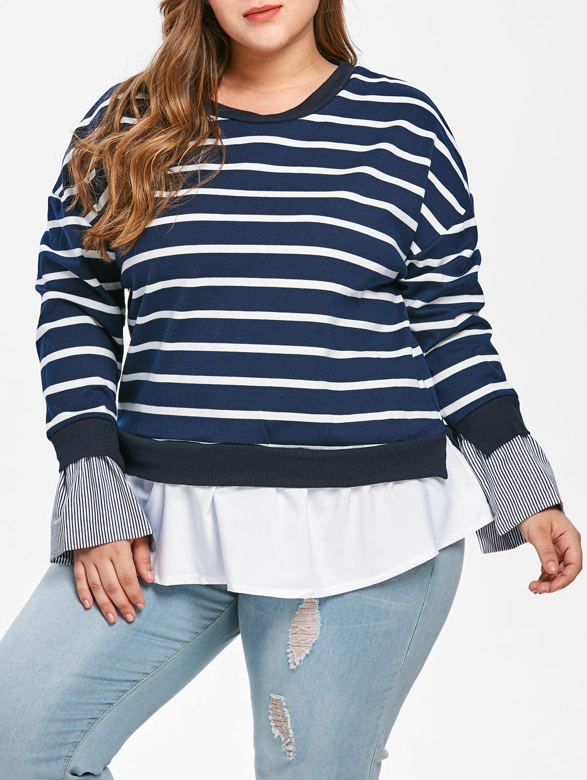 Drop Shoulder Plus Size Striped T-shirt - DARK SLATE BLUE 4X