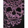 Butterflies Skull Print Kangaroo Pocket Hoodie - LIGHT PINK S