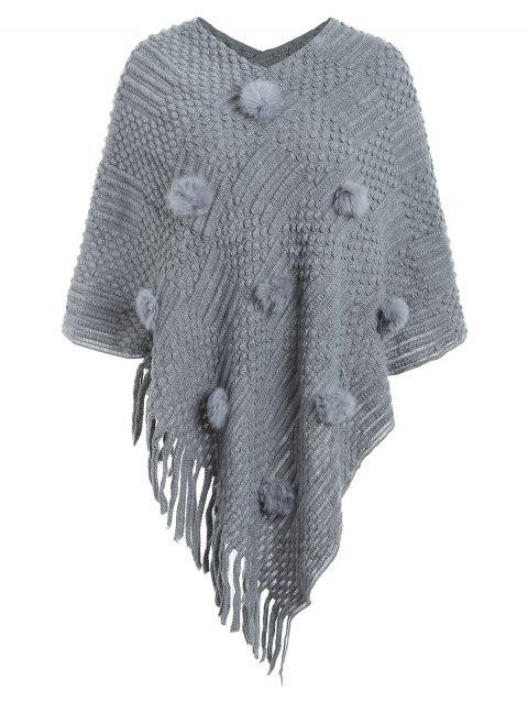Pull cape boule fuzzy - Gris Clair ONE SIZE