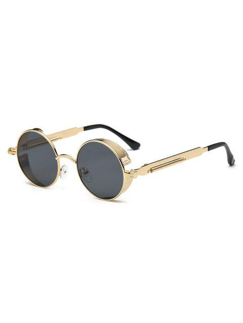 Anti Fatigue Metal Frame Flat Lens Round Sunglasses - CHAMPAGNE GOLD