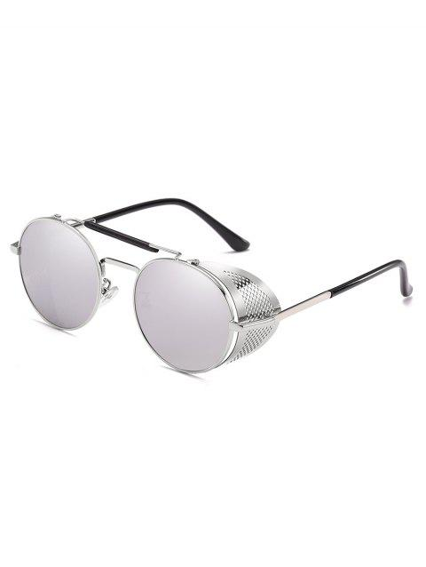 Novelty Crossbar Metal Frame Round Sunglasses - SILVER