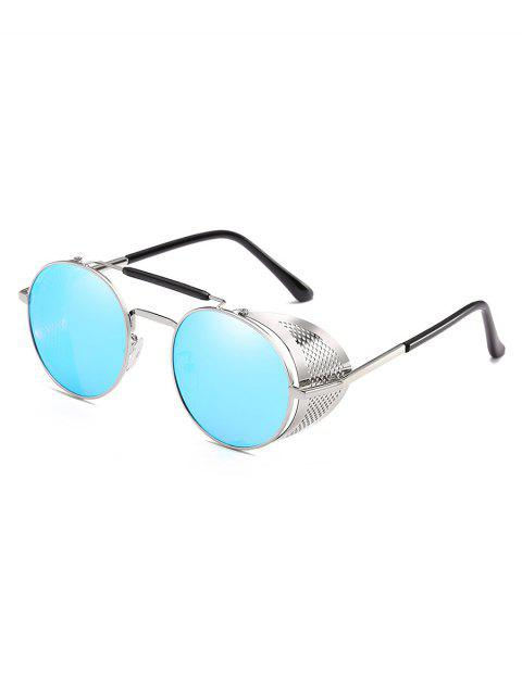 Novelty Crossbar Metal Frame Round Sunglasses - LIGHT SKY BLUE