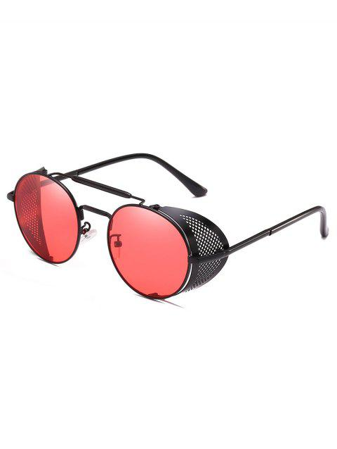 Novelty Crossbar Metal Frame Round Sunglasses - WATERMELON PINK