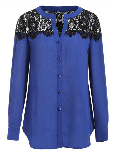 V Neck Long Sleeve Shirt with Lace - BLUE M