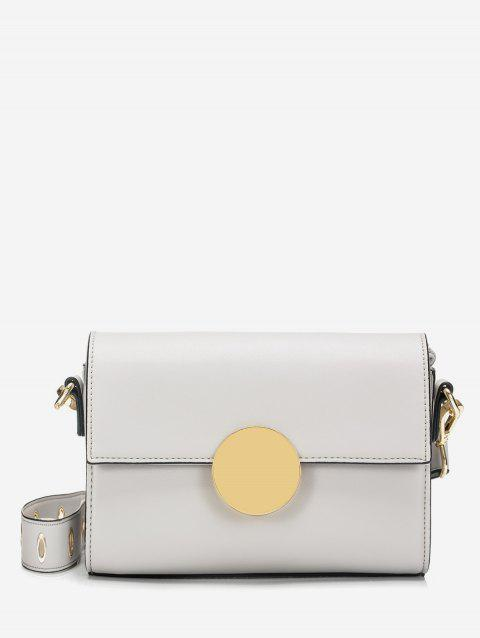 Circular Buckle Flap Crossbody Bag - WHITE