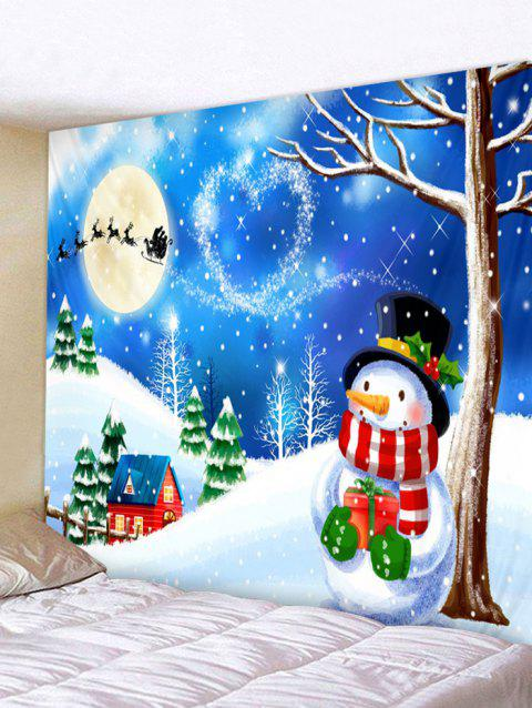 Christmas Night Snowman Print Tapestry Wall Hanging Decoration - OCEAN BLUE W91 X L71 INCH