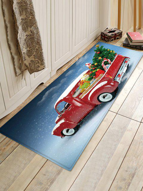 Christmas Tree Car Pattern Water Absorption Floor Rug - multicolor W16 X L47 INCH