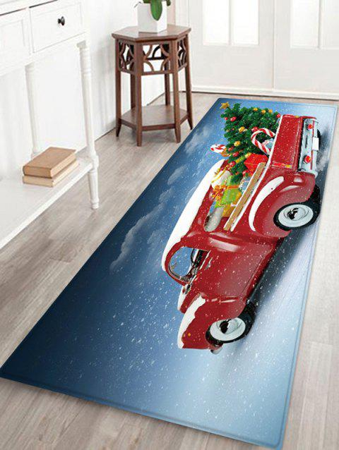 Christmas Tree Car Pattern Water Absorption Floor Rug - multicolor W24 X L71 INCH