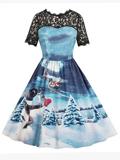 Snowman Print Lace Panel Vintage A Line Dress - BLUE M