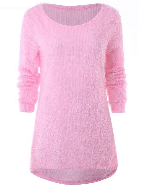 Longline High Low Fluffy Sweater - LIGHT PINK M