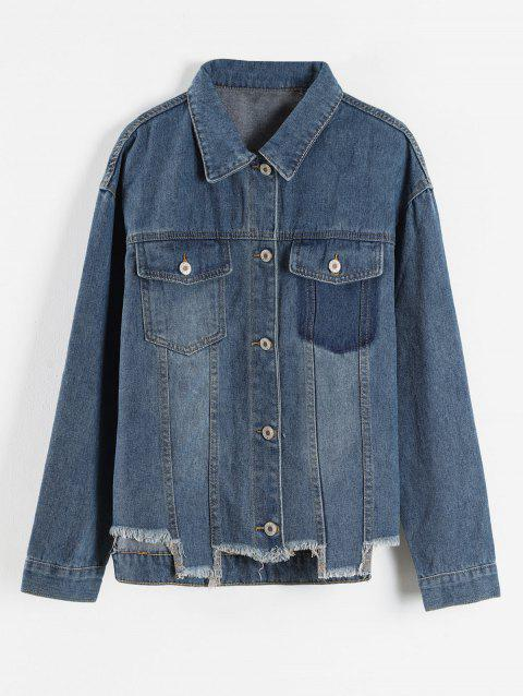 Plus Size Frayed Denim Jacket with Pocket - BLUE L