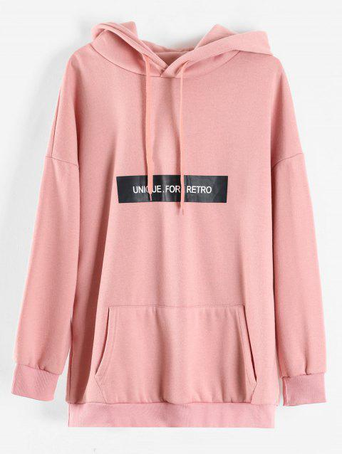 Plus Size Letters Front Pocket Longline Hoodie - PINK 1X