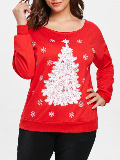 Plus Size Christmas Print Sweatshirt - RED L
