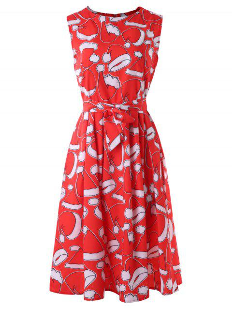 Christmas Hat Print Fit and Flare Dress - multicolor M