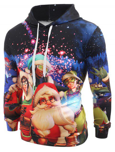 Santa Claus Print Kanga Pocket Hoodie - multicolor L