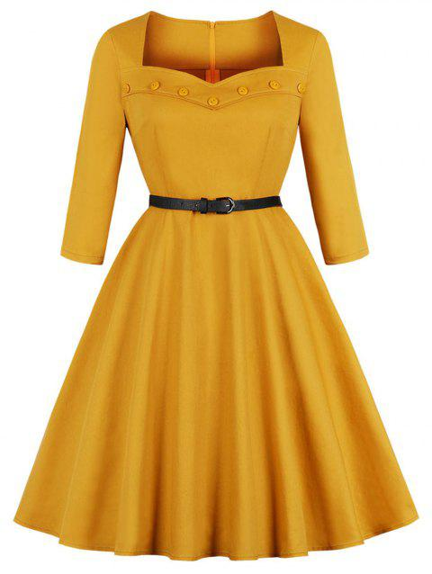 Button Embellished Sweetheart Neck A Line Dress - YELLOW 2XL