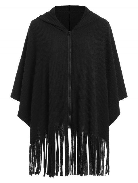 Plus Size Zipper Fringed Cape Coat - BLACK 3X
