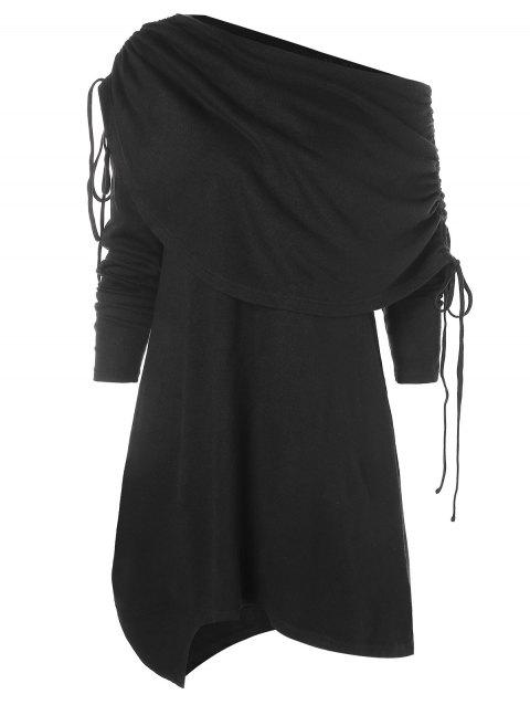 Fold Over Asymmetrical Tunic Dress - BLACK L