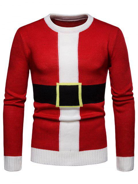 Santa Suit Christmas Pullover Sweater - LAVA RED 2XL