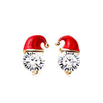 Christmas Hat Rhinestone Stud Earrings