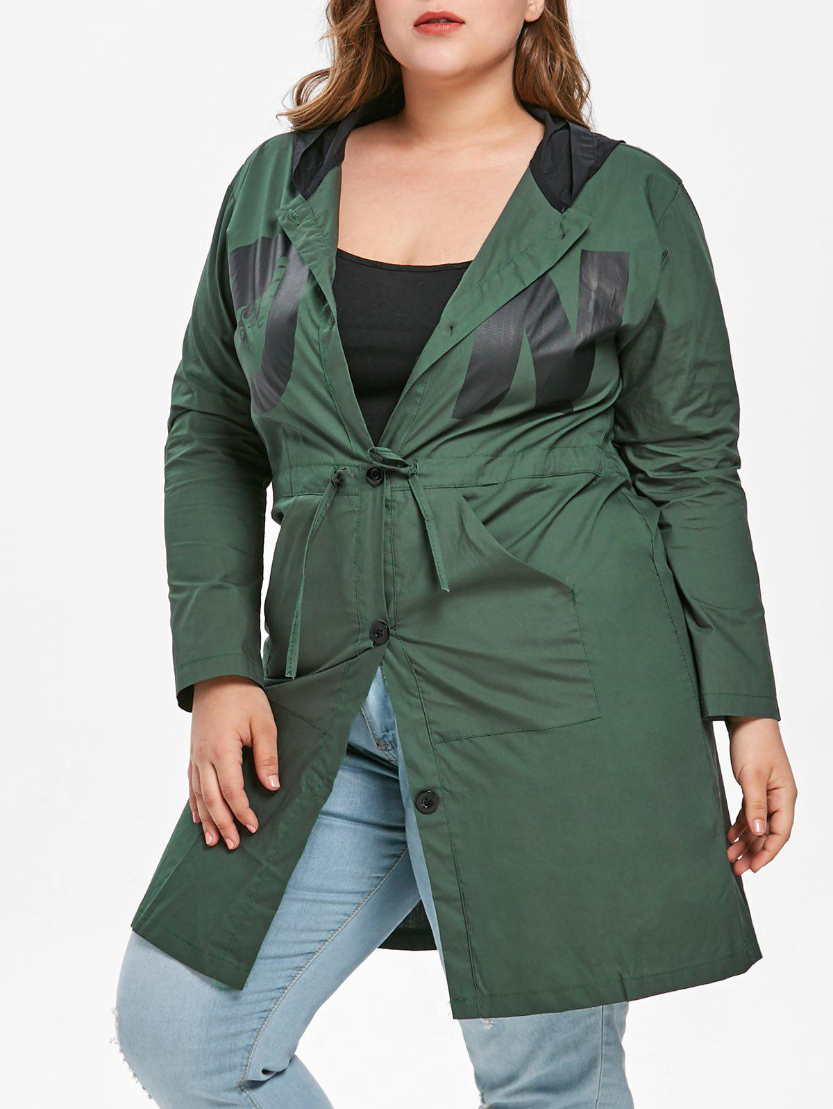 Plus Size Printed Drawstring Waist Coat - MEDIUM SEA GREEN 3X