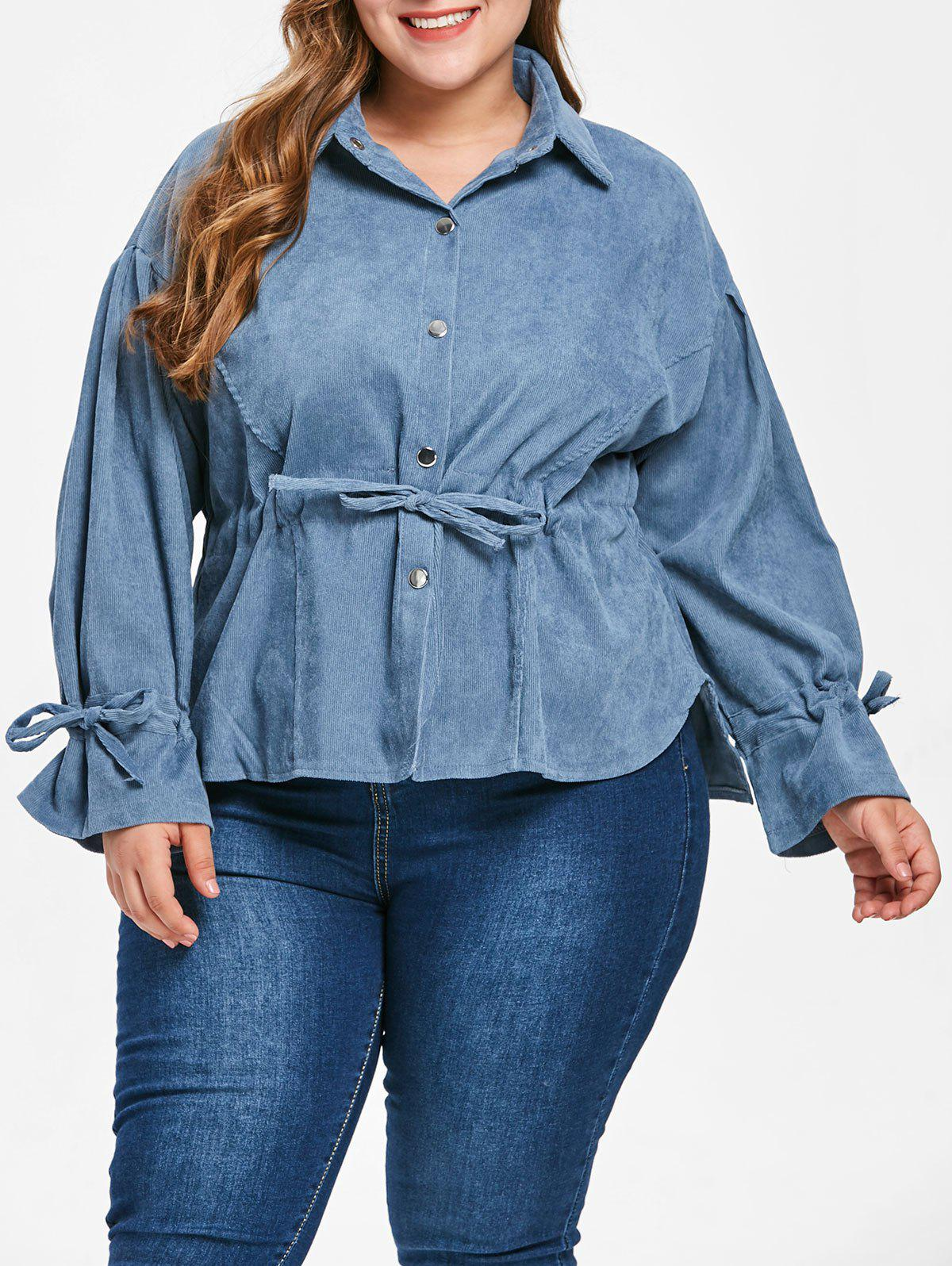 Corduroy Drawstring Plus Size Blouse - SILK BLUE 1X