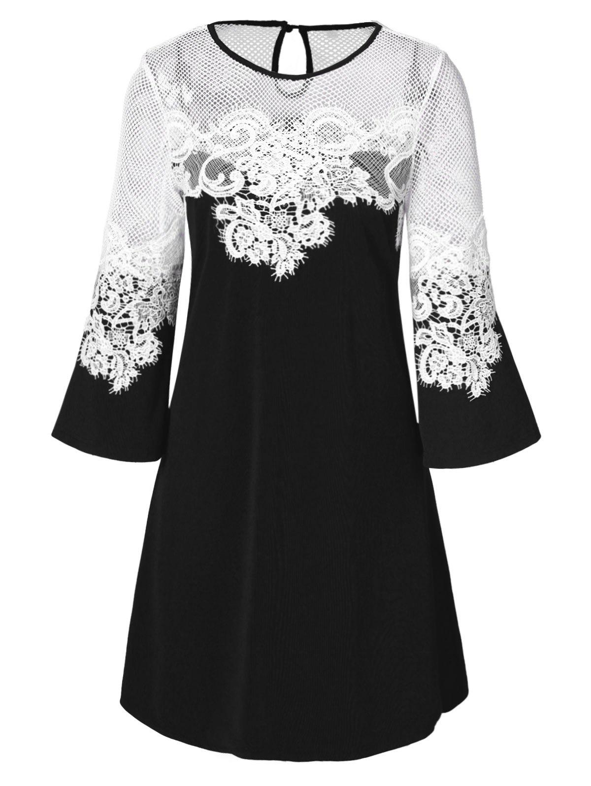 Lace Panel Openwork Mini Dress