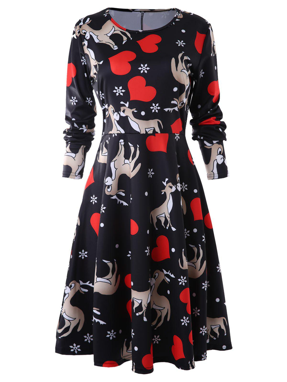 Heart Deer Print Sewing Dress - multicolor S