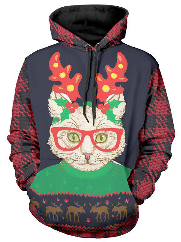 Christmas Cat Print Long Sleeve Hoodie - multicolor XL