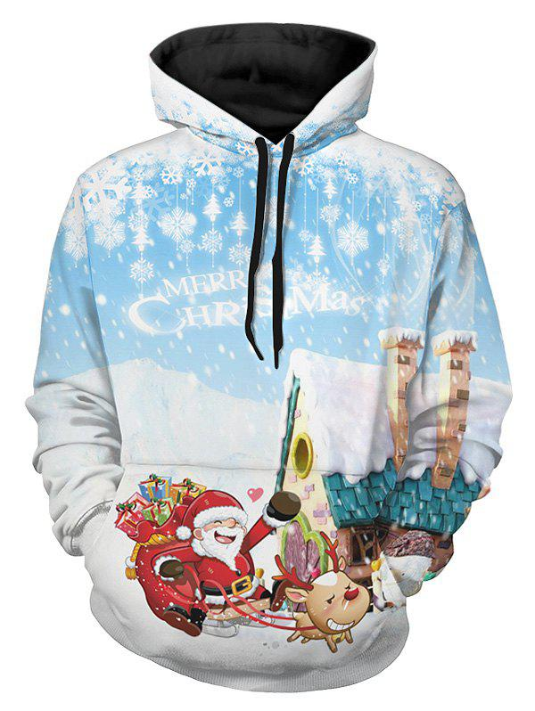 Sweat à Capuche Pull-over Père Noël et Flocon de Neige Imprimés - multicolor 2XL