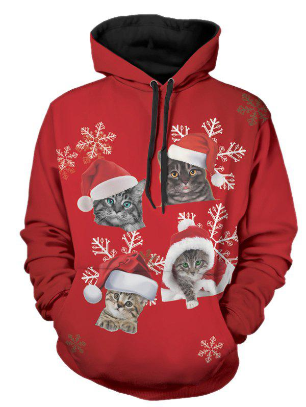 Christmas Cats Print Pullover Hoodie - LAVA RED M